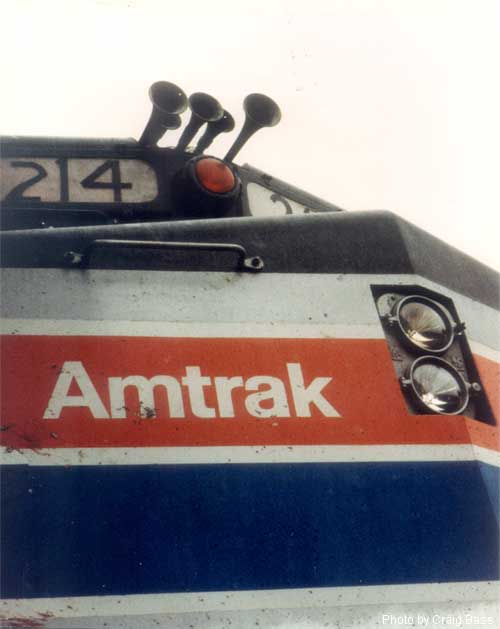 Up-angle nose shot of F40PH No. 214 at Oceanside, California