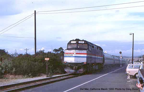 Pulling into the old station at Del Mar, this southbound San Diegan is led by F40PH #236 in March, 1982.