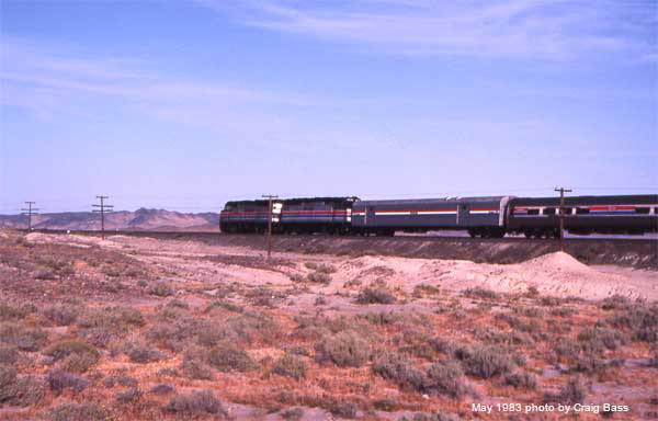 Near Yuma, Arizona in 1983 with Amtrak's Sunset Limited in May, 1983