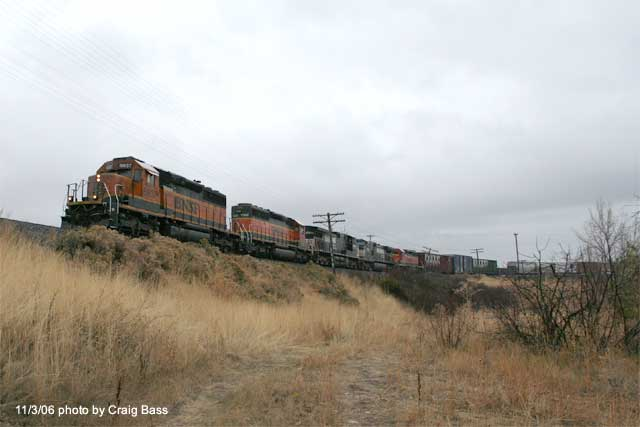 Northbound freight through the Terminal City area of Klamath Falls.