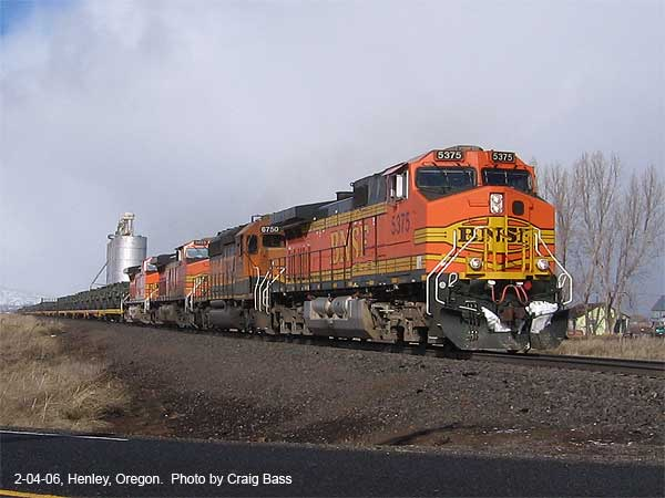 Southbound military train at Henley, OR
