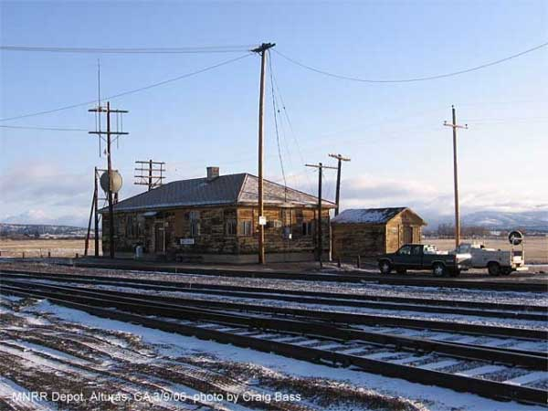 The old Southern Pacific yard office, aka MNRR's new Alturas depot, could use a coat of paint.