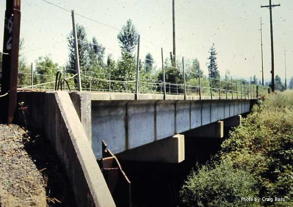 This concrete bridge spanned Johnson Creek and still exists as part of the Springwater Trail