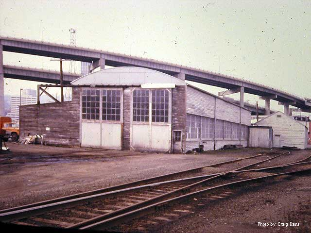 PTC's enginehouse, in the shadow of Interstate 5 in August, 1981
