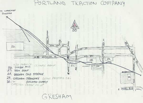 Gresham used to be reached by the Portland Traction Company from Linneman Junction along US 26, West Powell Blvd.