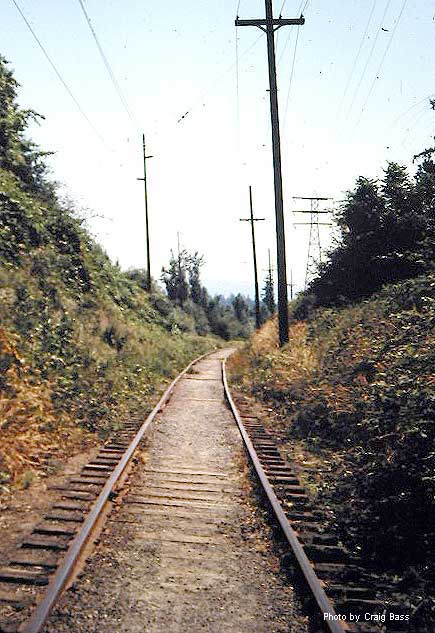 This shot is looking up a short grade as the line leaves what is now known as Tideman Johnson City Park, coming out of the canyon toward Johnson Creek.  The tracks are gone and the roadbed is now the Springwater Trail.