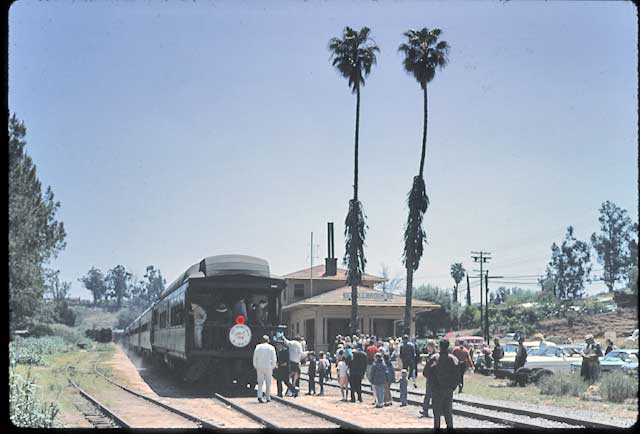 Train at Fallbrook, CA depot during an Avocado Festival