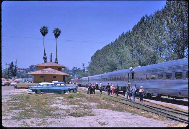 Train in Fallbrook, California at the Santa Fe depot during an Avocado Festival